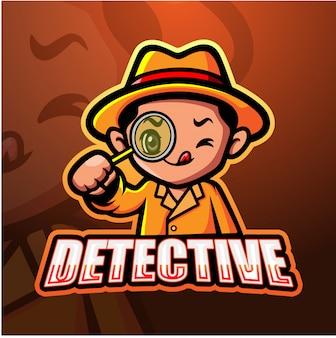 Detektiv maskottchen esport illustration