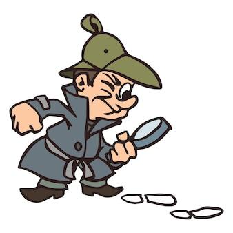 Detektiv untersucht einen kriminellen spion mit lupe und spuren vektor-illustration