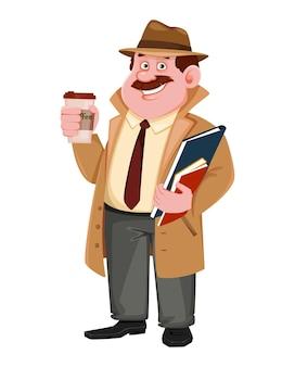 Detektivcharakter mit kaffeepause