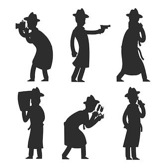 Detektivschattenbilder auf weiß. polizist silhouettiert vektorillustration
