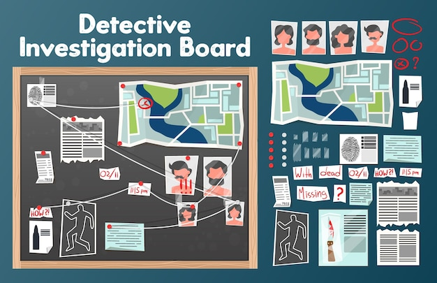 Detektivtafel mit text und isolierten bildern von pins fotos von verdächtigen mit zeitungsausschnitten