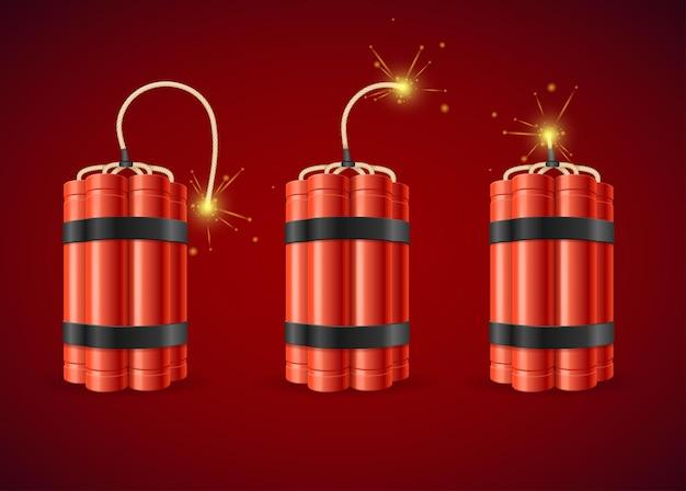 Detonate dynamite bomb set detonate dynamite bomb. vektor-illustration