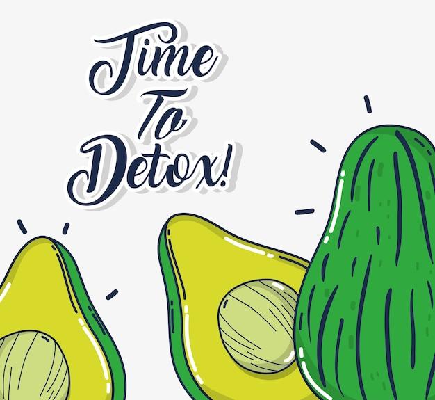 Detox und frische früchte avocados und leere blase rede