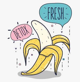 Detox und frische früchte banane und leere blasen