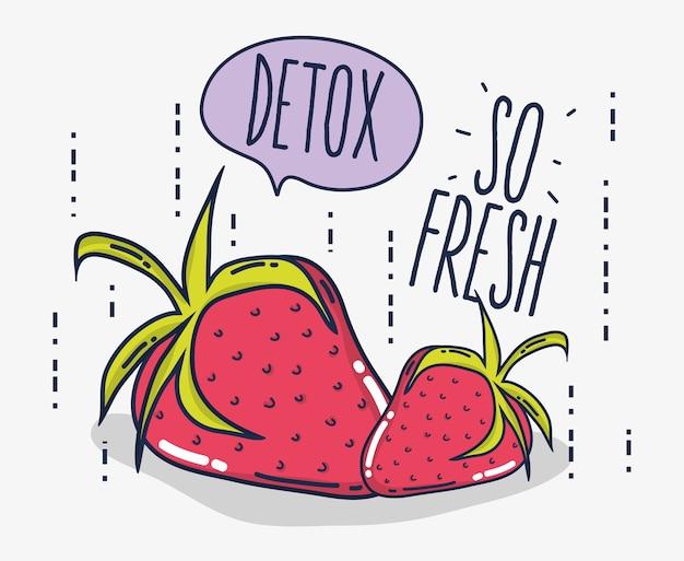 Detox und frische früchte erdbeeren