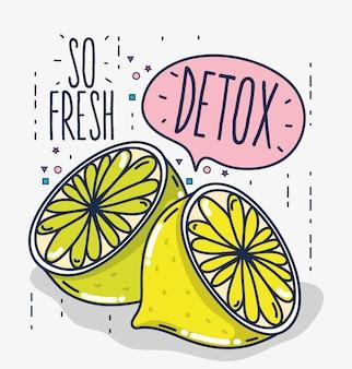 Detox und frische früchte zitronen zitronen