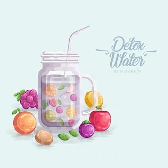 Detox-wasser trägt vektor-illustration früchte