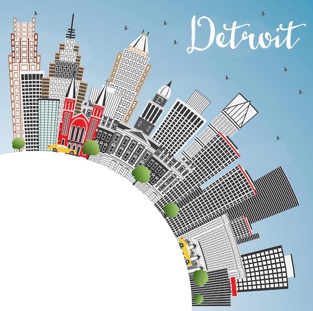 Detroit michigan usa skyline der stadt mit grauen gebäuden, blauem himmel und textfreiraum. vektor-illustration. geschäftsreise- und tourismuskonzept mit moderner architektur. detroit-stadtbild mit sehenswürdigkeiten.