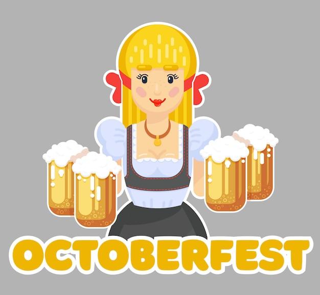 Deutsche frau mit bier. oktoberfest logo design. mädchen kellnerin in traditioneller kleidung. flache illustration