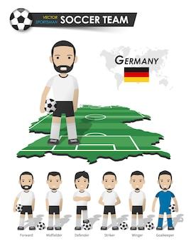 Deutsche fußballnationalmannschaft. fußballspieler mit sporttrikot stehen auf der landkarte des perspektivfeldes und der weltkarte. set von fußballspielerpositionen. flaches design der zeichentrickfigur. vektor.