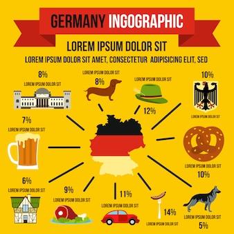 Deutsche infografik-elemente im flachen stil für jedes design