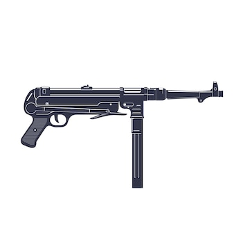 Deutsche maschinenpistole mp 40 über weiß, berüchtigte schusswaffe aus dem 2. weltkrieg