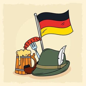 Deutsche oktoberfestillustration mit ikonen