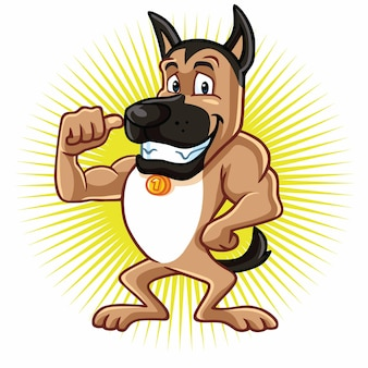 Deutscher schäferhund cartoon charakter design logo maskottchen vektor