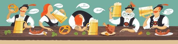 Deutscher traditioneller toast die leute trinken bier auf dem traditionellen oktoberfest-bierfest