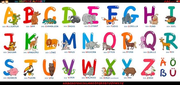 Deutsches alphabet mit den karikaturtieren eingestellt