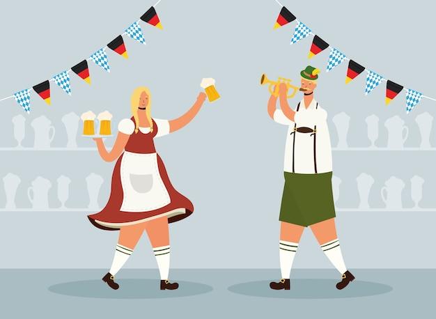 Deutsches paar, das tiroler anzugtrinkbiere trägt und trompetenvektorillustrationsentwurf spielt