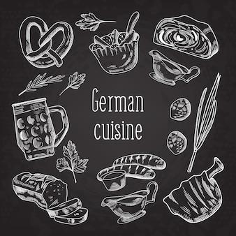 Deutsches traditionelles essen hand gezeichnete tafel gekritzel