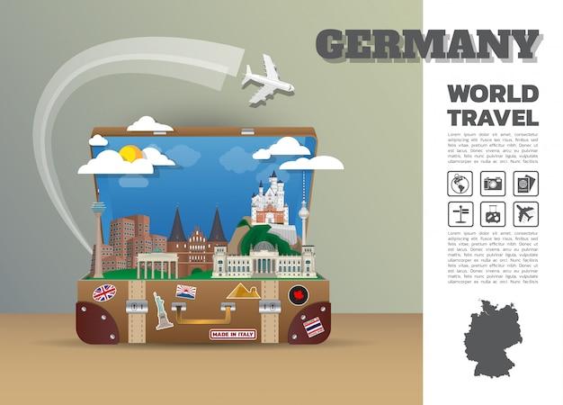 Deutsches wahrzeichen global travel and journey infografik gepäck.3d design