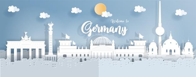 Deutschland berühmte sehenswürdigkeiten in papier-origami-stil