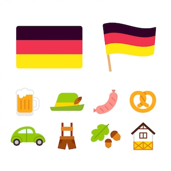 Deutschland cartoon icons set
