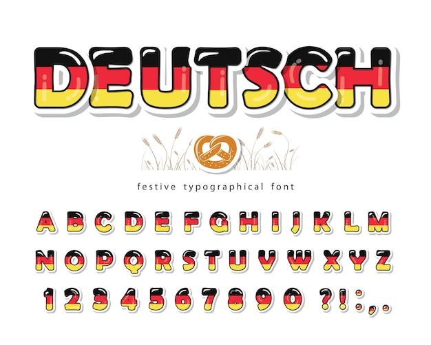 Deutschland cartoon schriftart. deutsche nationalflaggefarben.