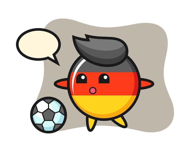 Deutschland flaggenabzeichen cartoon spielt fußball