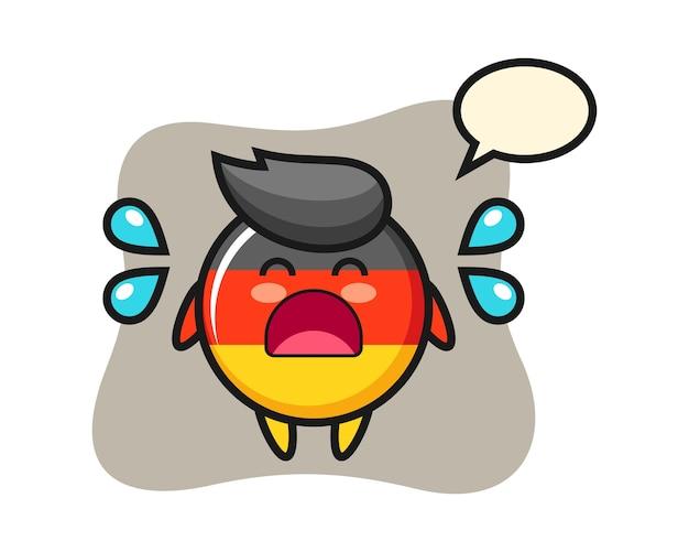 Deutschland-flaggenabzeichen-karikatur mit weinender geste