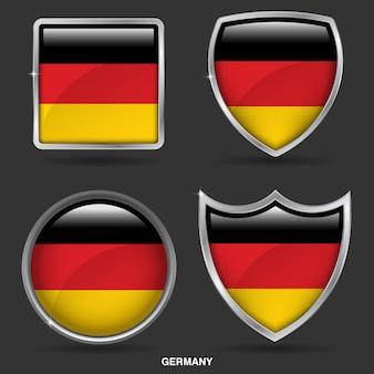 Deutschland flags in 4 shape icon