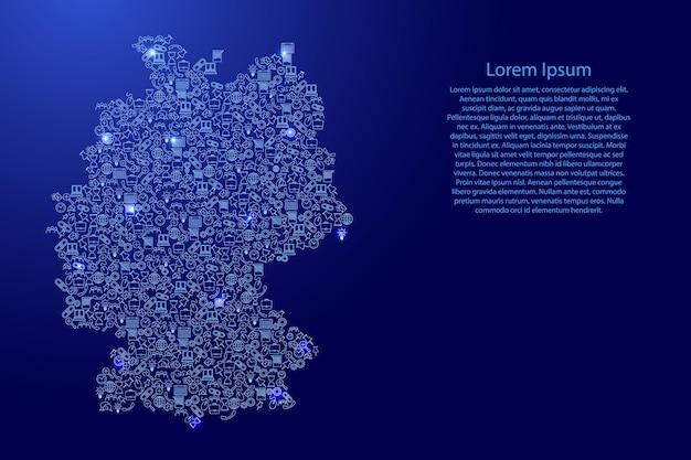 Deutschland-karte aus blauen und leuchtenden sternensymbolen mustersatz seo-analysekonzept oder entwicklung, geschäft. vektor-illustration.