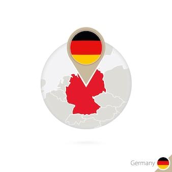 Deutschland-karte und flagge im kreis. karte von deutschland, deutschland-flaggenstift. deutschlandkarte im stil des globus. vektor-illustration.