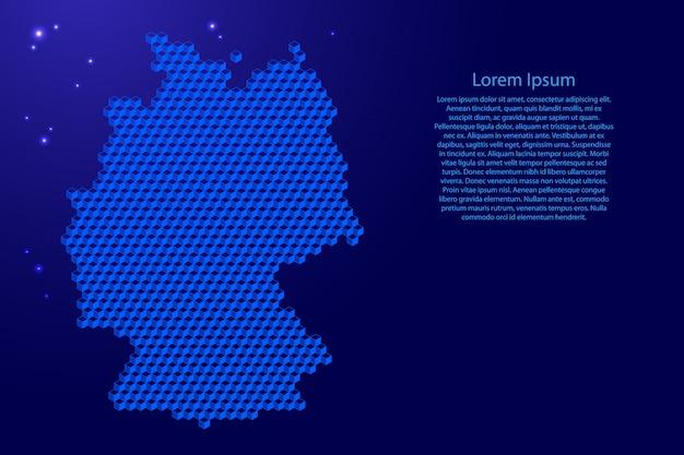 Deutschland-karte vom isometrischen abstrakten konzept der blauen würfel 3d