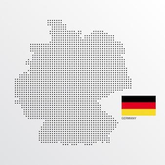 Deutschland-kartenentwurf mit flaggen- und hellem hintergrundvektor
