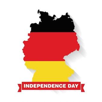 Deutschland land karte mit independence day banner