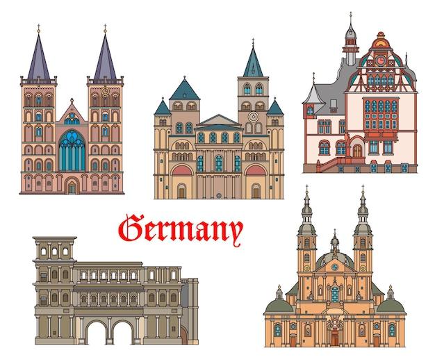 Deutschland markiert architektur in deutschen städten trier und fulda, vektor. wahrzeichen der st. peter kathedrale, des limburger rathauses, der stadttore der porta nigra und des st. viktor doms in xanten