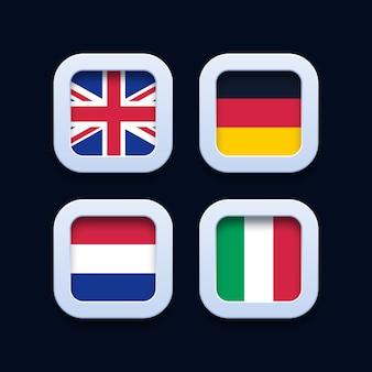 Deutschland, niederlande, vereinigtes königreich und italien flaggen 3d schaltflächensymbole
