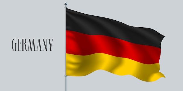 Deutschland schwenkt flagge auf fahnenmast