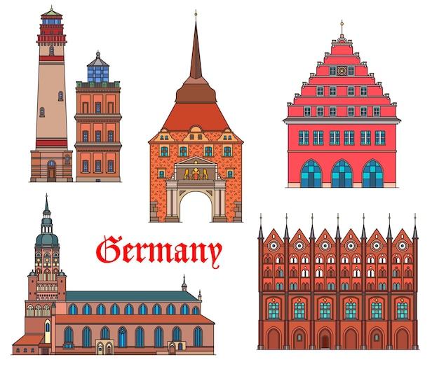 Deutschland wahrzeichen architektur, deutsche städte rostock und greifswald gebäude, vektor. deutschland wahrzeichen von stralsund rathaus, rugen insel leuchtturm, st. nikolai kathedrale und steintor tore