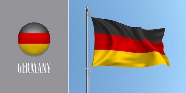 Deutschland wehende flagge am fahnenmast und runde symbolvektorillustration. realistisches 3d-modell mit design der deutschen flagge und kreistaste