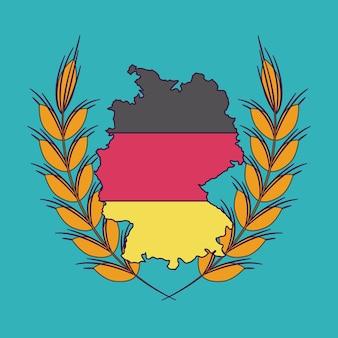 Deutschland weizen ohr karte flagge symbol