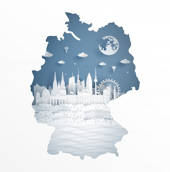Deutschlandkartenkonzept mit berühmtem markstein für reisepostkarte und -plakat