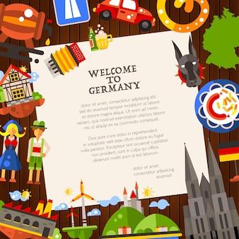 Deutschlandreisepostkartenschablone mit berühmten deutschen symbolen