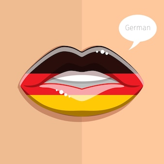 Deutschsprachiges konzept. glamour lippen mit make-up der deutschen flagge, frauengesicht.