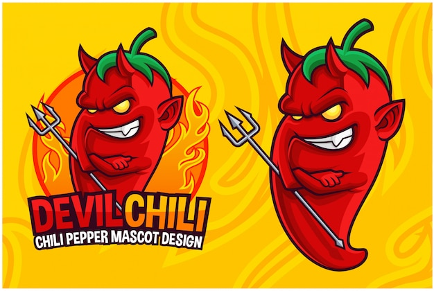 Devil chili pepper maskottchen