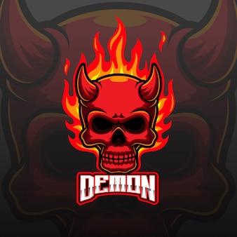 Devil head und sport maskottchen logo