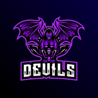 Devil maskottchen logo esport gaming