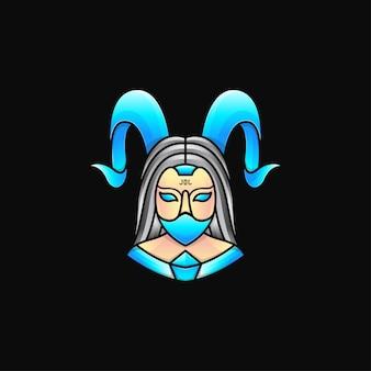 Devil woman maskottchen-logo, illustration der gehörnten frau, die eine maske trägt