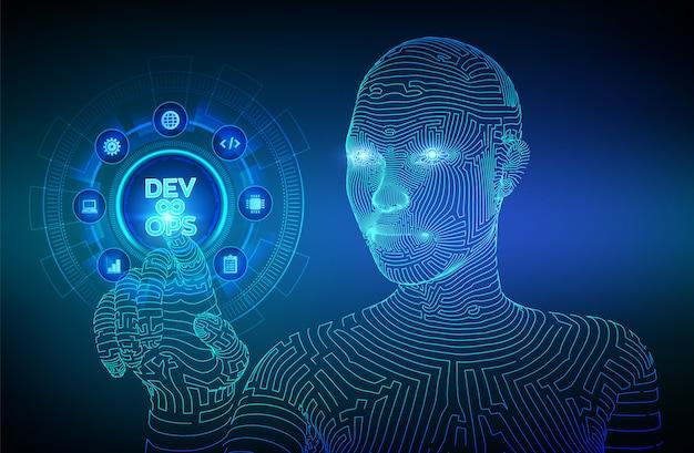 Devops. agiles entwicklungs- und optimierungskonzept. wireframed cyborghand, die digitale schnittstelle berührt.