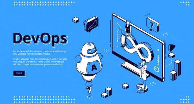Devops, banner für entwicklungsoperationen