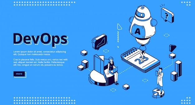 Devops isometrisches banner, entwicklung und betrieb